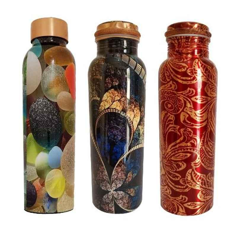 Healthchoice 1L Fancy, Crystel & RedLeaf Copper Jointless Water Bottle (Pack of 3)