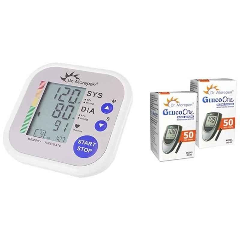 Dr. Morepen BP-02 Blood Pressure Monitor & BG-03 Gluco One 100 Test Strips Combo
