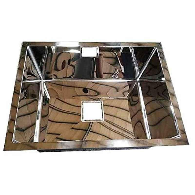 Crocodile 24x18x10 inch Single Bowl Stainless Steel Hi Gloss Finish Kitchen Sink with Square Coupling