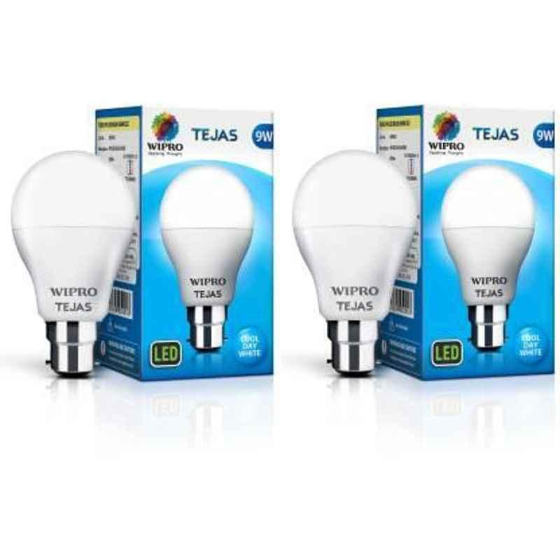 Wipro Tejas 9W Cool Day White Standard B22 LED Bulb, N95001 (Pack of 2)