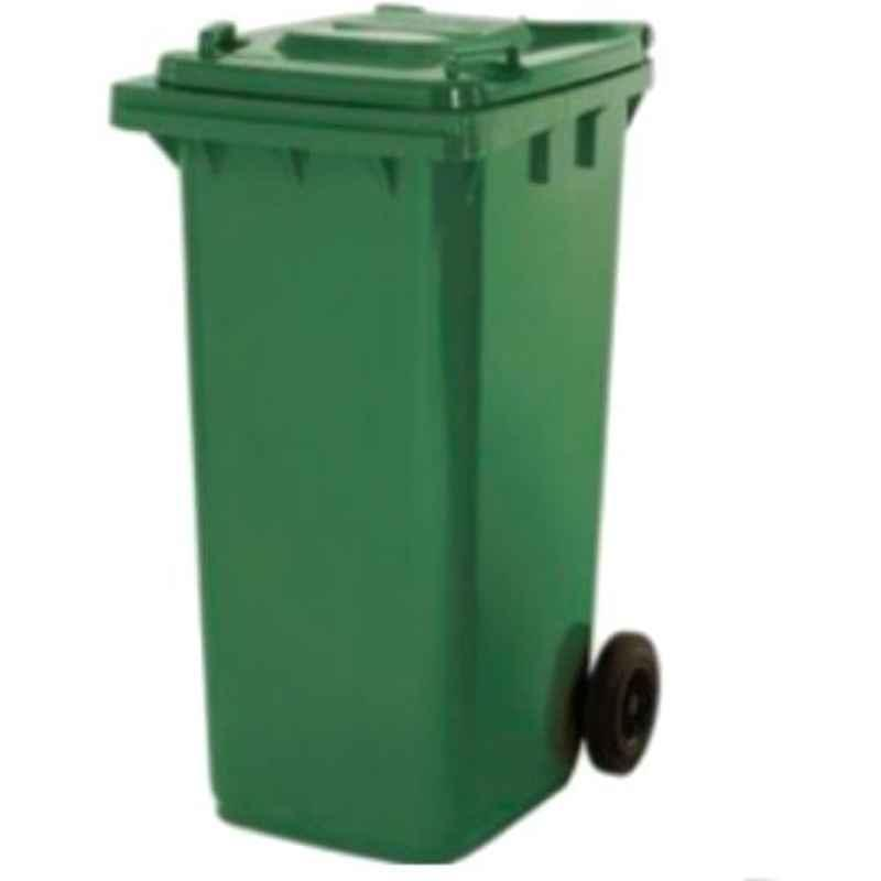 Delta Solutions 110L Plastic Green Litter Dome Dustbin (Pack of 2)