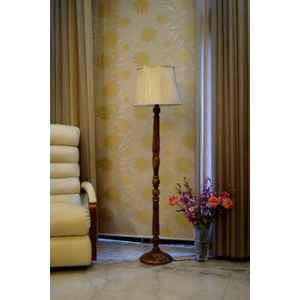 Tucasa Mango Wood Brown Floor Lamp with Off White Cylindrical Polycotton Shade, WF-15