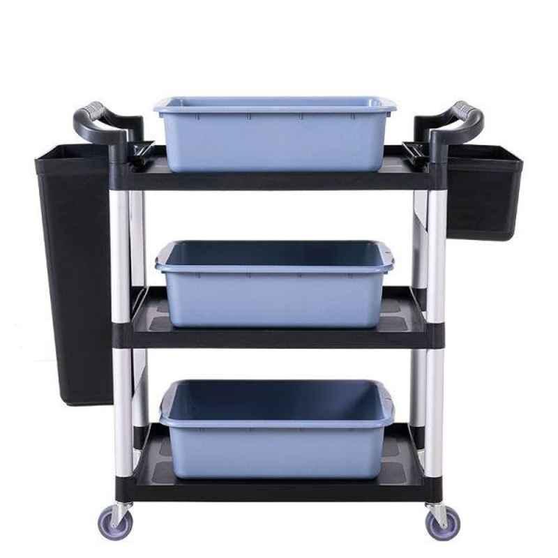 Bigapple 250kg Aluminium & Plastic Black & Grey Triple Platform Service Cart Trolley with 5 Buckets, TRL-SPH-SC-LARGE-BLACK-WITH-BUCKETS