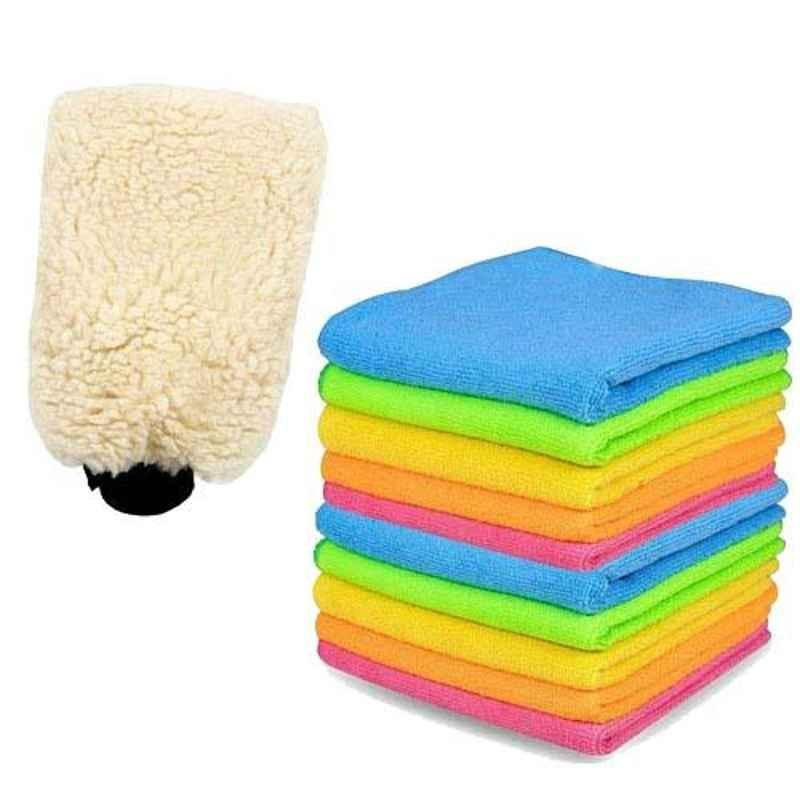 AllExtreme Combo Pack of Microfiber Washing Cream Glove with 10 Pcs Towels