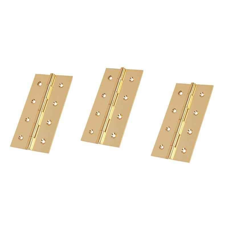 Smart Shophar 3x.75x1.5 inch Brass Gold Butt Hinge, SHA10HG-BUTT-GL3X.75X1.5-P3 (Pack of 3)
