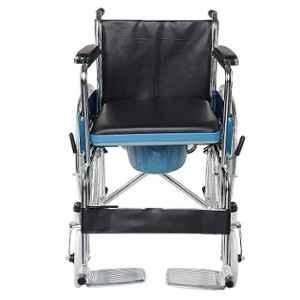 Entros Lightweight Foldable Chromed Steel Commode Wheelchair, SC8005A