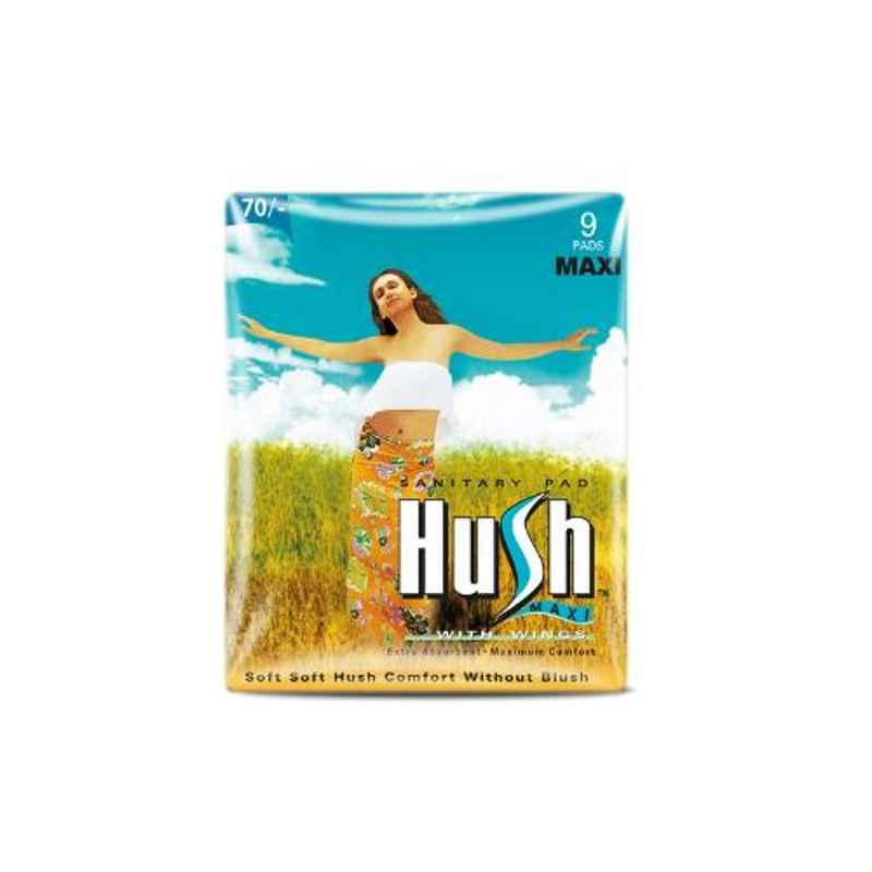 Hush Maxi 9 Pcs 280mm Straight Sanitary Napkins with Wings, H280M-6-7 (Pack of 5)