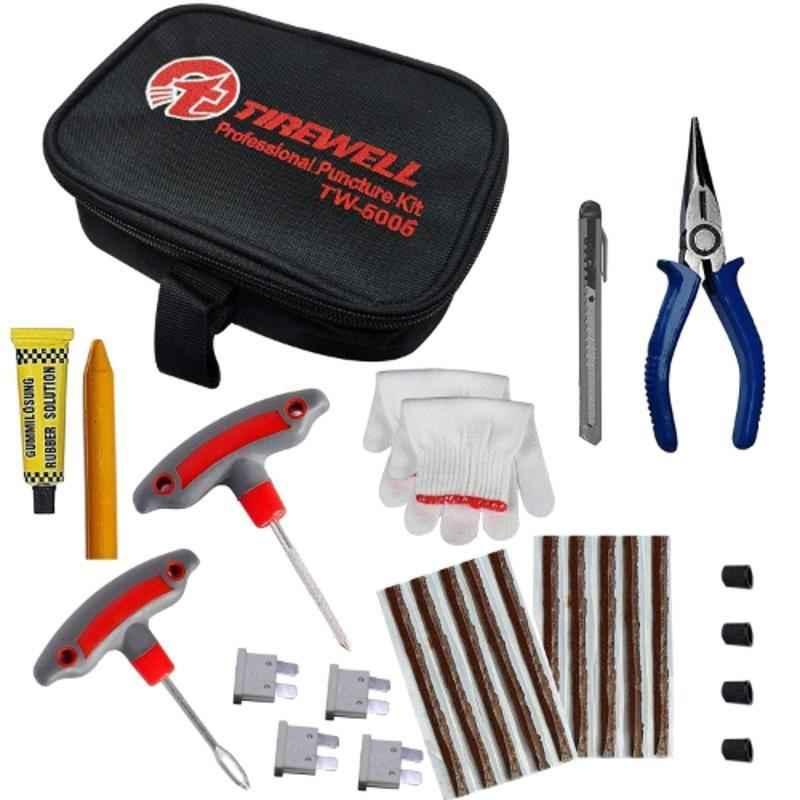 Tirewell TW-5006 10 in 1 Universal Flat Tubeless Tyre Puncture Repair Kit for Car & Bikes