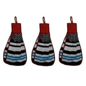 Chiyu Multicolored Kitchen Double sided Hanging Towel, KT3 (Pack of 3)