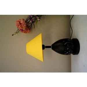 Tucasa Metal Table Lamp with LED in Base with Yellow Polycotton Shade, P9-CB-3