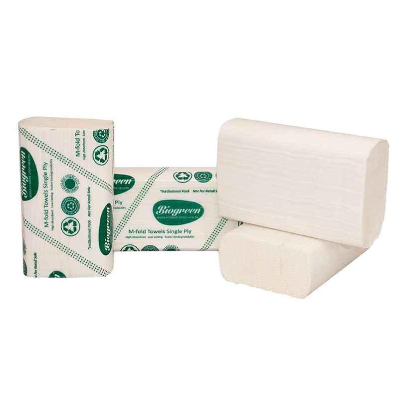 Biogreen 20x21cm 35 GSM 125 Sheets M Fold Paper Towel (Pack of 20)
