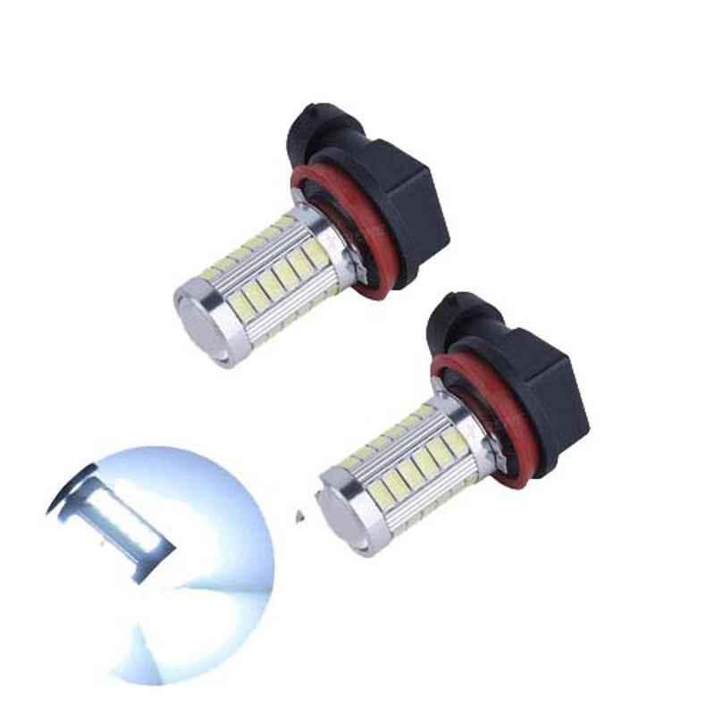 AllExtreme EXCBL02 2 Pcs H11 80W White Connector Chip Based Super Bright LED Corn Headlight Bulb Set