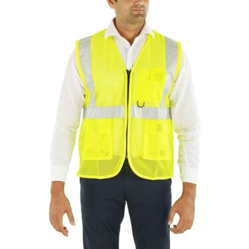 Club Twenty One Workwear Small Yellow Polyester Safety Jacket with 2 inch Reflective Tape
