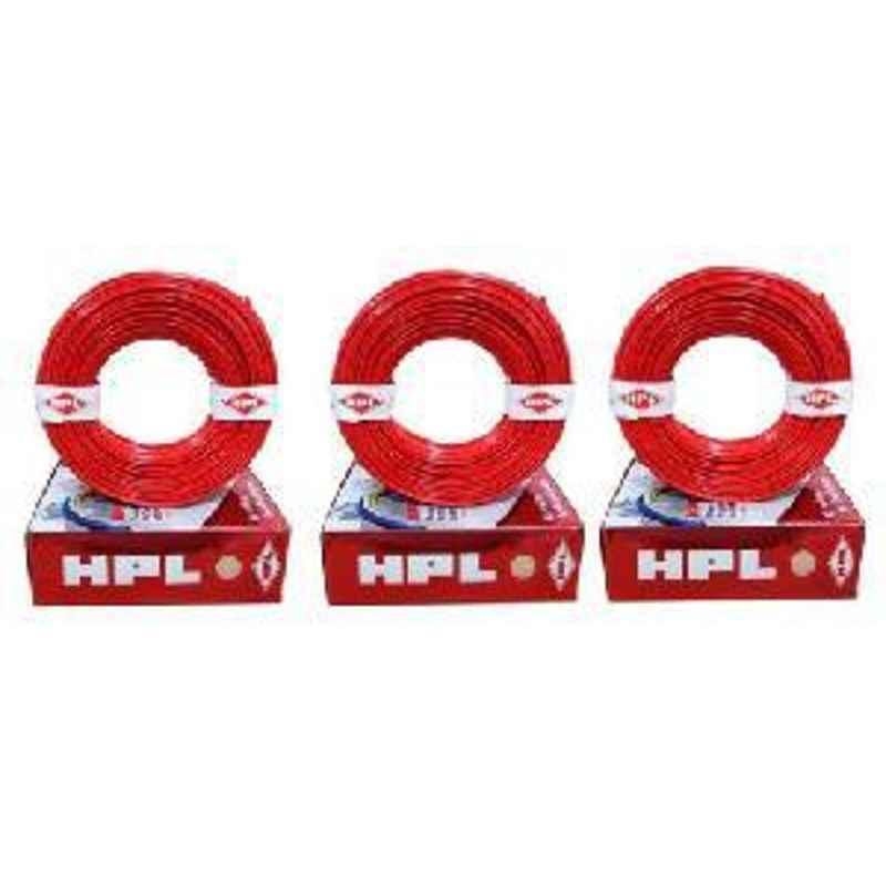 HPL 1.5 Sq mm Wire single core 90Mtr. FR Pack of 3-Red HFR000150090RD