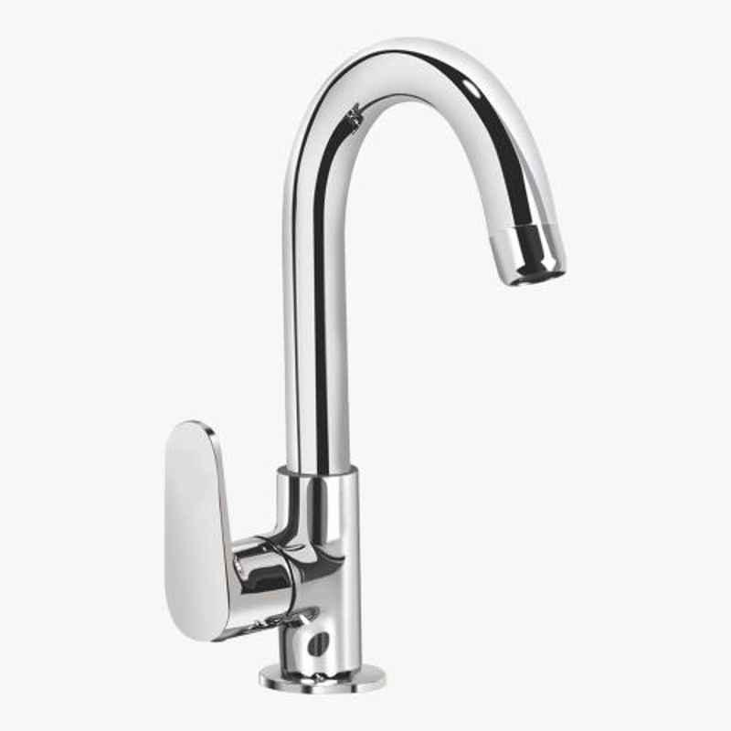 Kerovit Hydrus Silver Chrome Finish Deck Mounted Sink Cock with Swivel Spout, KB411028