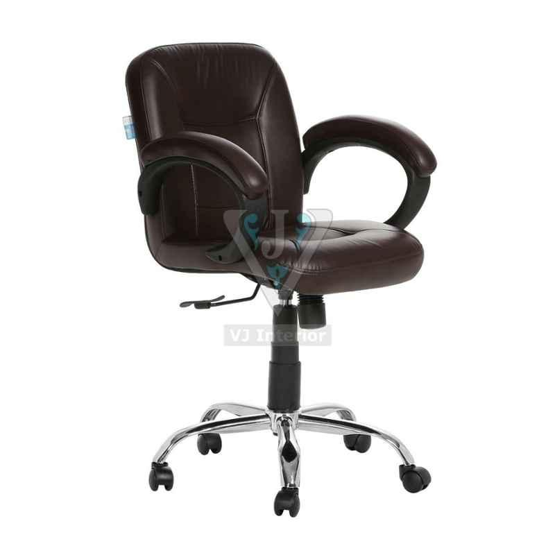 VJ Interior Leather Brown Low Back Acabado Workstation Chair, VJ-537