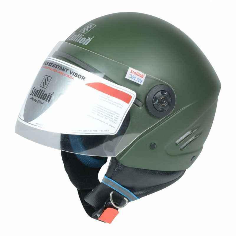Stallion BLK K10 Open Face Military Motorbike Helmet, Size: M