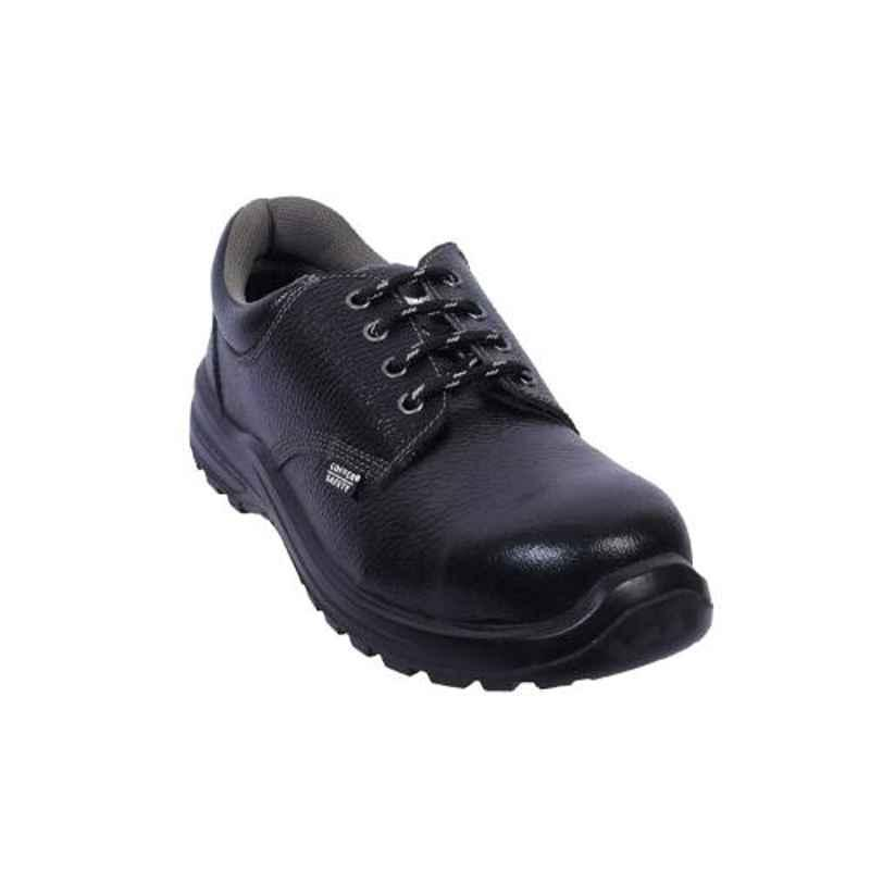Coffer Safety CS-1012 Leather Steel Toe Black Safety Shoes, Size: 6