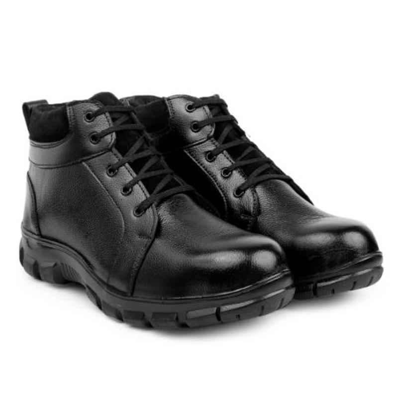 RED CAN SGE1170BLK Leather High Ankle Steel Toe Black Safety Boots, Size: 10