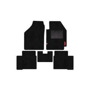 Elegant 5 Pcs Cord Black Carpet Car Mat for Skoda Rapid 2016 Onwards Ambition Set