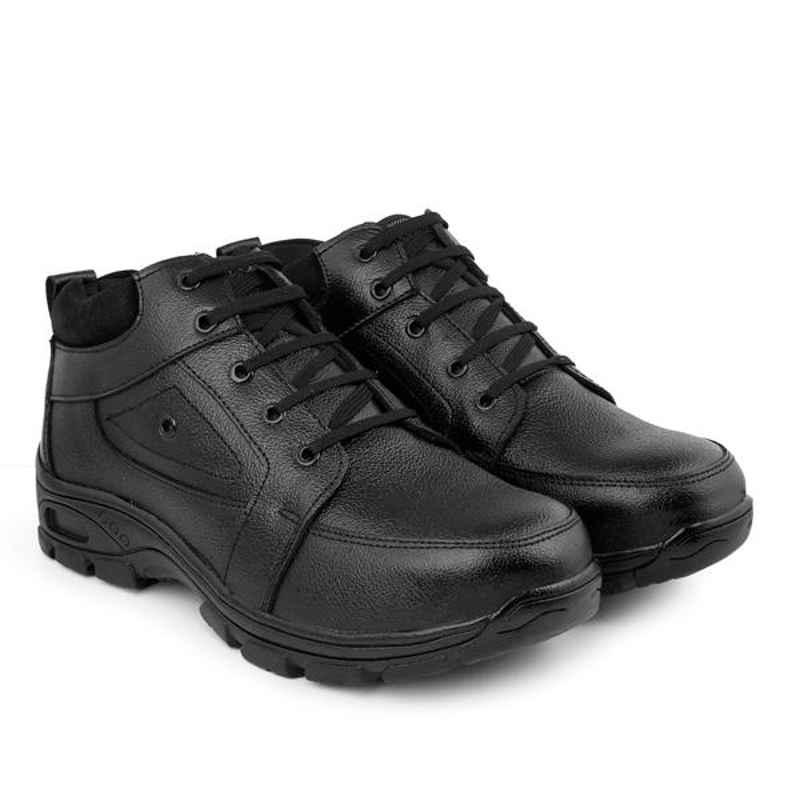 Red Can SGE1172BK Genuine Leather Steel Toe Black Corporate Casual Safety Shoe, Size: 6