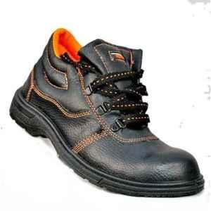 Himmat KH34 Leather Steel Toe High Ankle Black & Orange Safety Shoes, Size: 6