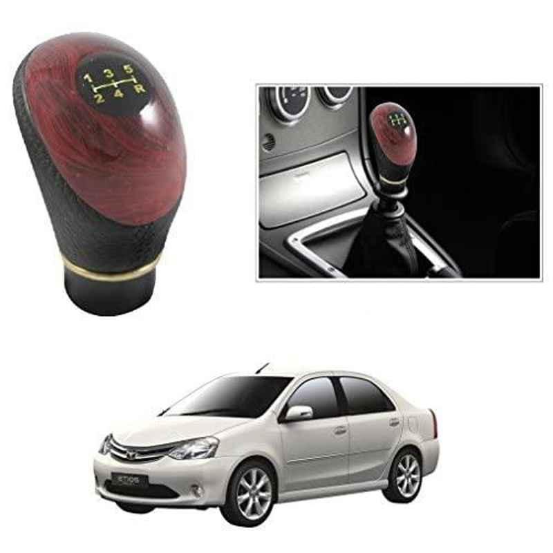 Autostark Black Wood Gear Shift Knob for Toyota Etios
