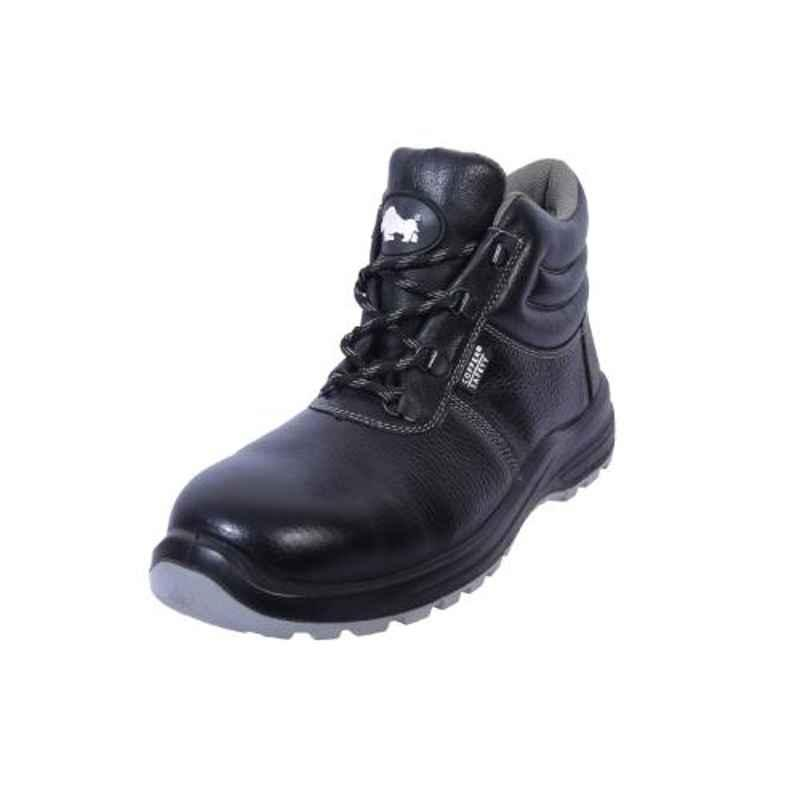 Coffer Safety CS-1013 Leather Steel Toe Black Safety Boots, Size: 7