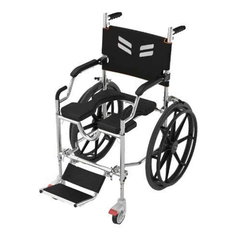 Frido Go 41.5x27x36.5 inch Black Self Propelled Portable Shower Commode Wheelchair, FS168S