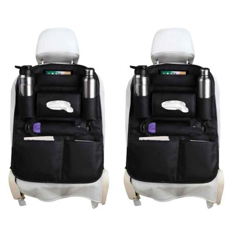 AllExtreme EXTBDS2B 2 Pcs Black PU Leather Car Seat Back Organizer Multi Pocket Travel Storage Bag Set