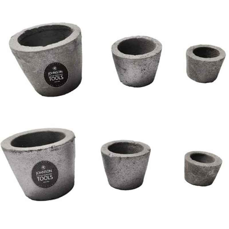Johnson Tools 6 Pcs Grey Small Casting Clay Graphite Crucible Set , JTCS-6P