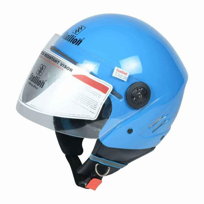 Stallion BLK K10 Open Face Blue Motorbike Helmet, Size: M
