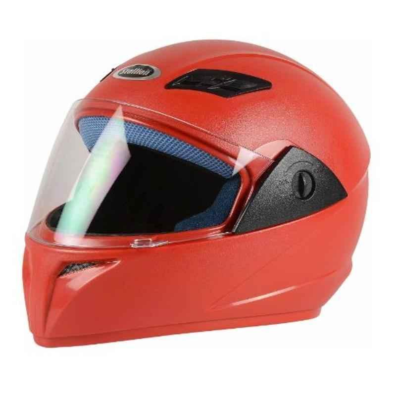Stallion BLK Vento Plus Red Full Face Bike Helmet, Size: M