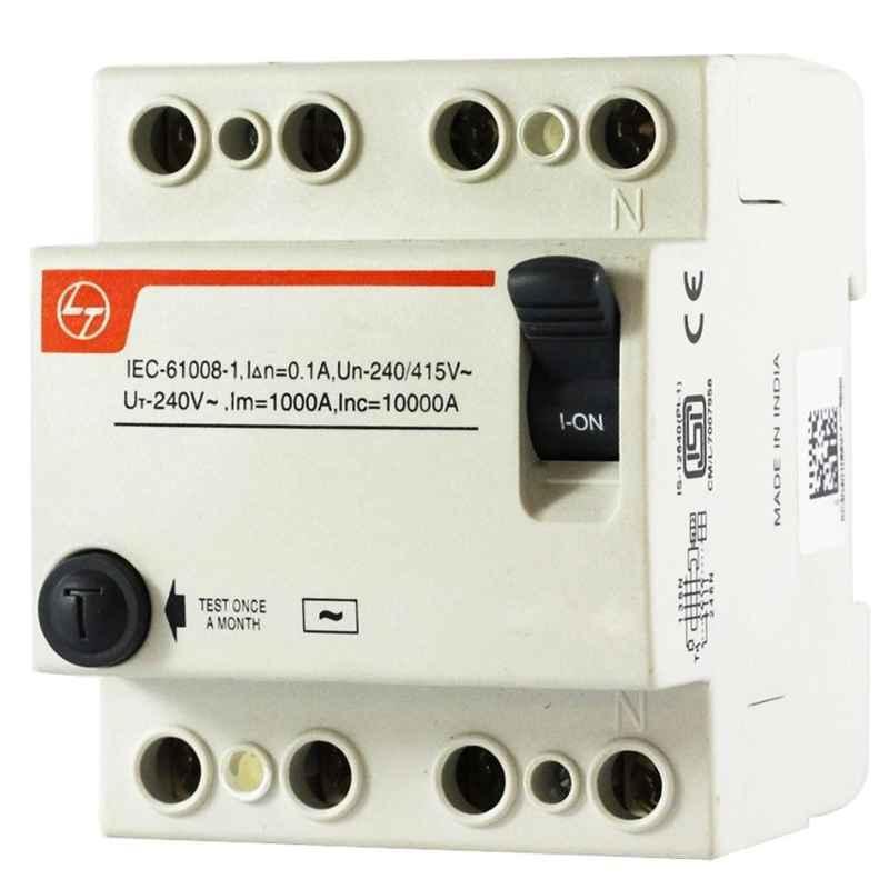L&T Exora 100A 300mA 4 Pole RCCB, BG410030