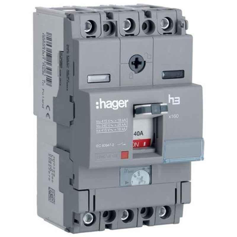Hager 100A 3 Pole h3 Thermal Magnetic Release MCCB, HDA100U, Breaking Capacity: 18 kA