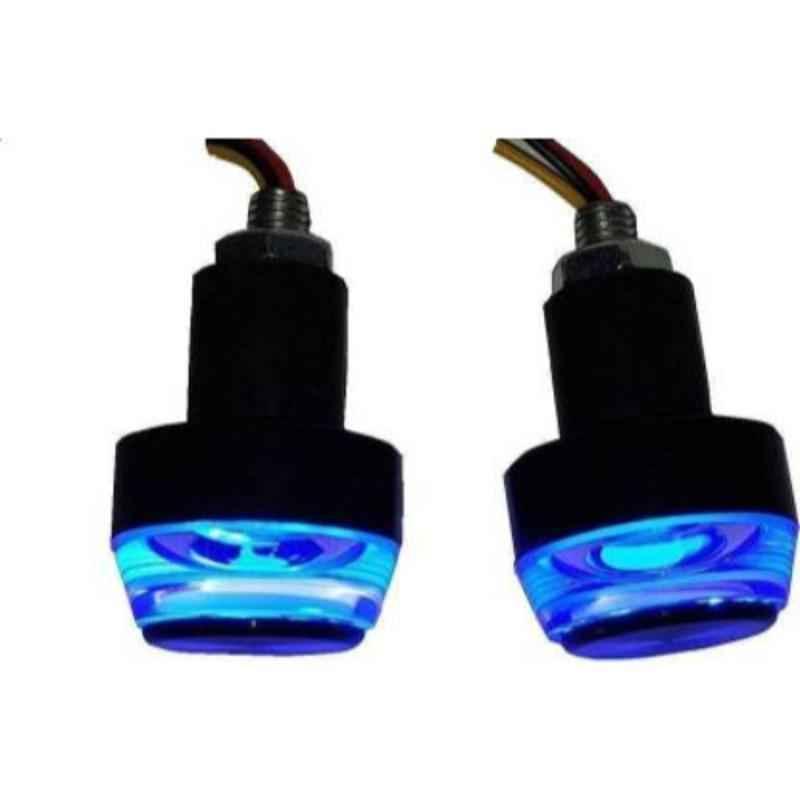 JBRIDERZ 2 Pcs Handle Weight Bar White Blue LED Indicator Set for Bajaj Pulsar 150 DTS-i