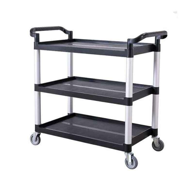 Bigapple 150kg Aluminium & Plastic Black & Grey Triple Platform Service Cart Trolley, TRL-SPH-SC-MEDIUM-BLACK