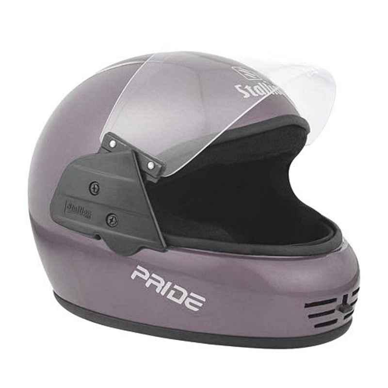 Stallion BLK Pride Grey Full Face Motorbike Helmet, Size: M