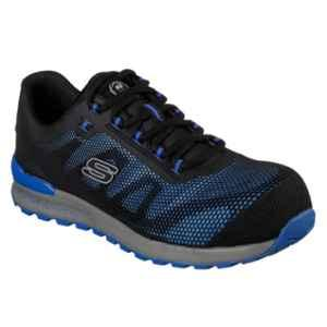 Skechers 77180 Synthetic Leather Composite Toe Blue Safety Shoes, Size: 9