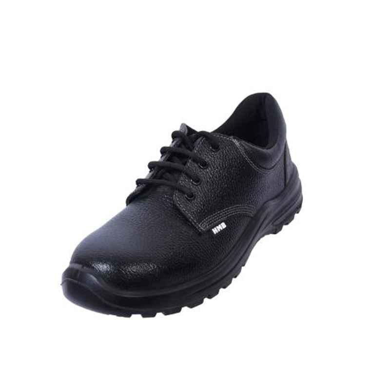 Coffer Safety CS-1012H Leather Steel Toe Black Safety Shoes, Size: 6