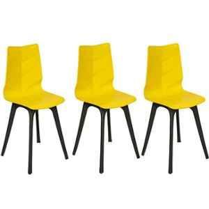 Regent Diamond Shell Plastic Black & Yellow Chair (Pack of 3)