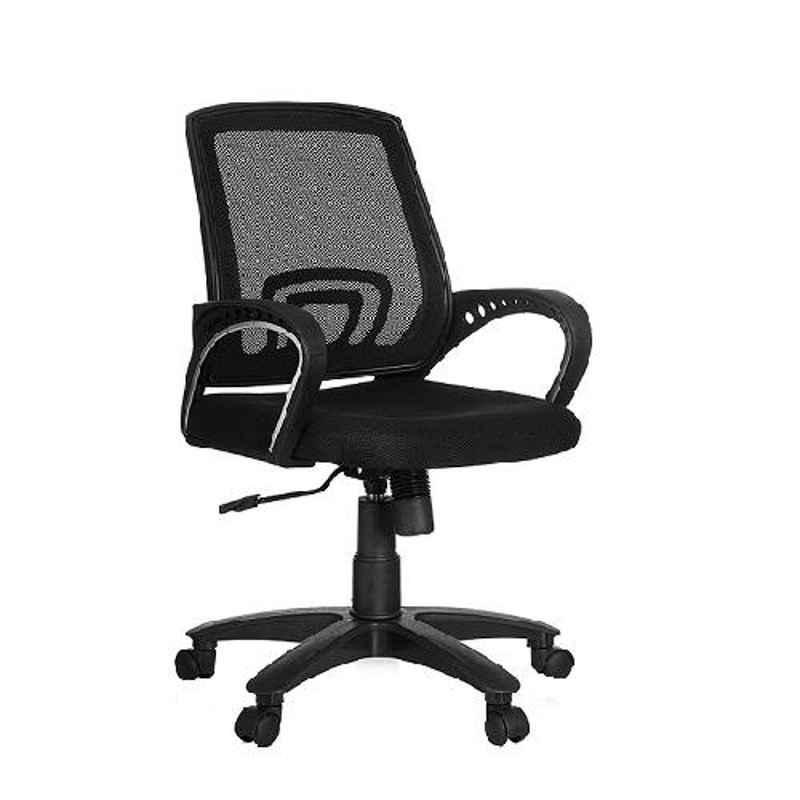 Saroj Low Back Mesh Staff Black Office Chair, SE006