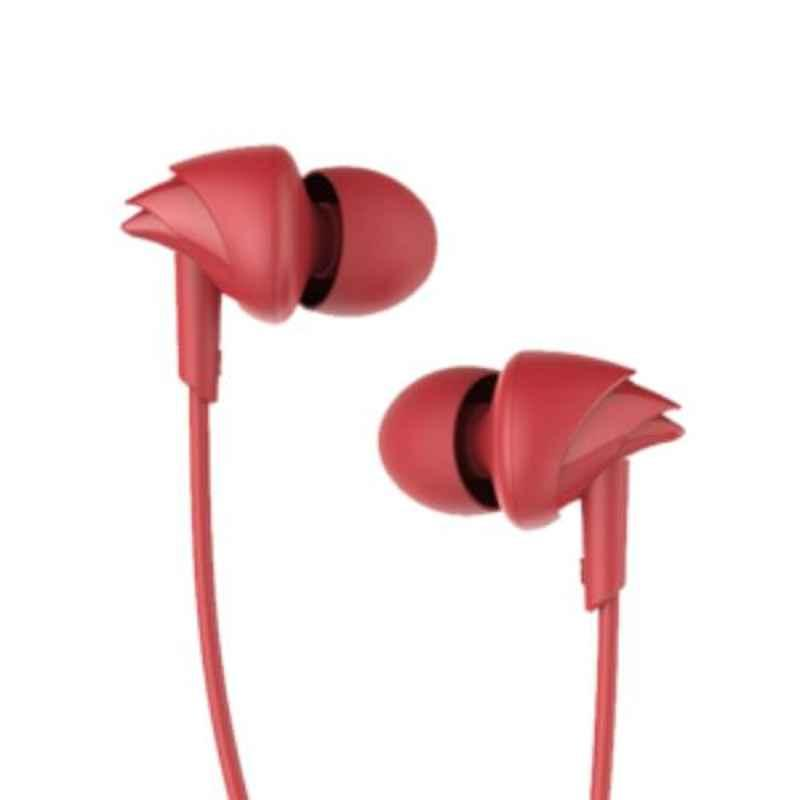 boAt Bassheads 110 Red Wired Headset with Mic