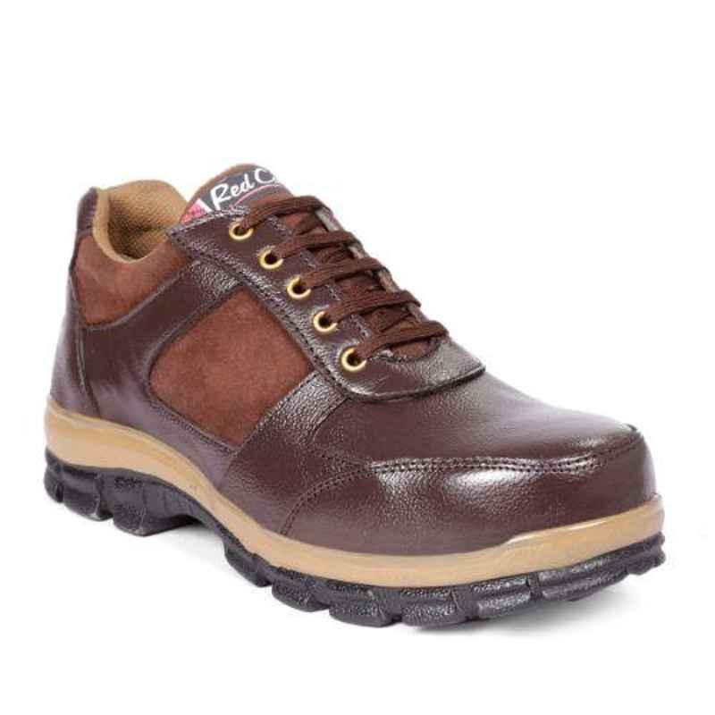 RED CAN SGE1168BRN Leather Low Ankle Steel Toe Brown Safety Shoes, Size: 8