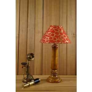 Tucasa Mango Wood Tan Table Lamp with 10 inch Polycotton Golden Circle Pyramid Shade, WL-201