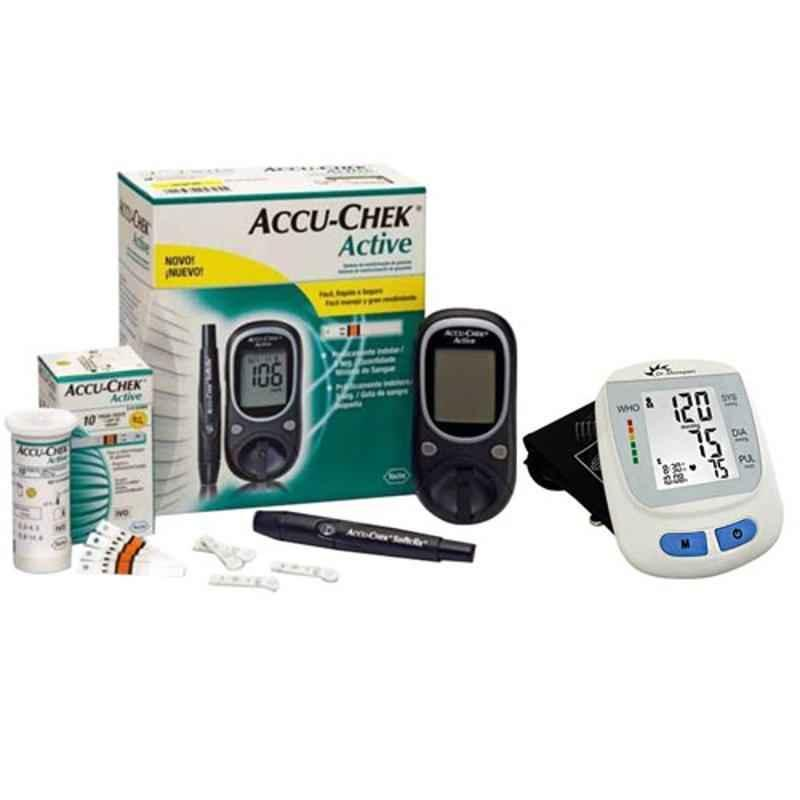 Dr. Morepen BP-09 Blood Pressure Monitor & Accu-Chek Active Glucose Monitor with 10 Free Strips