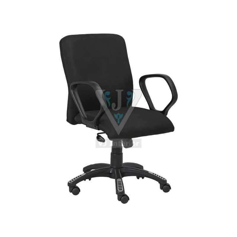 VJ Interior 19 inch Black Padded Mesh Fabric Mid Back Office Chair, VJ-1337