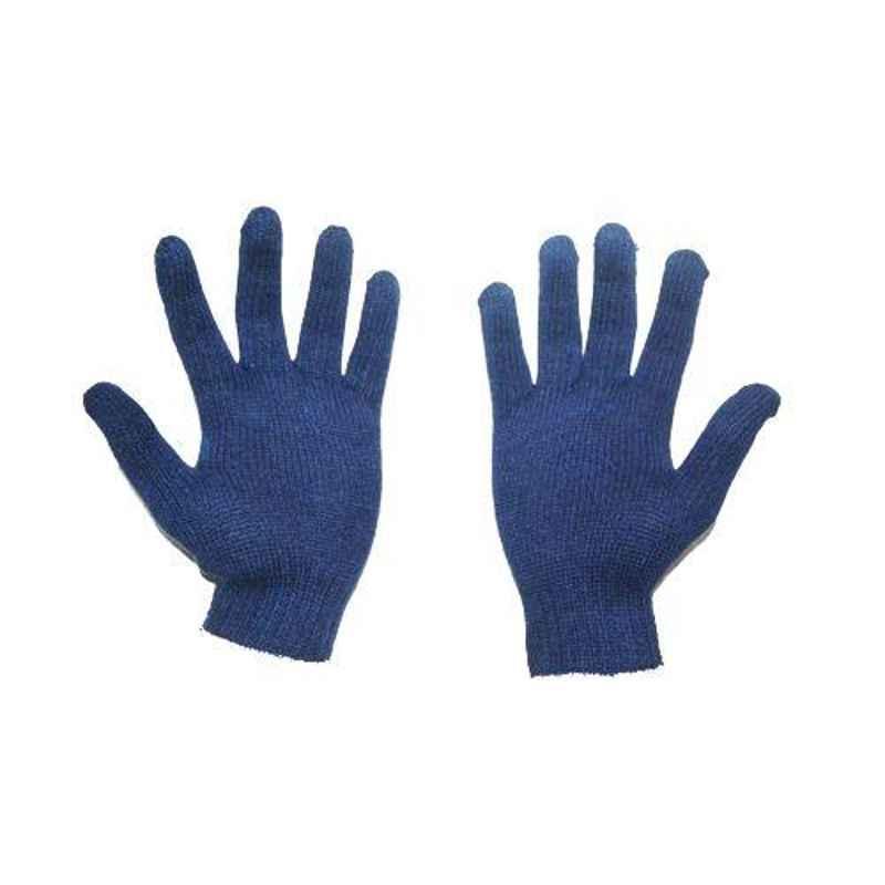 SRTL 50 g Blue Cotton Knitted Hand Gloves (Pack of 50)
