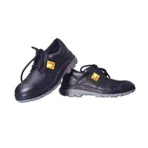 Leather Craft Jeep Leather Steel Toe Black Safety Shoes, Size: 9
