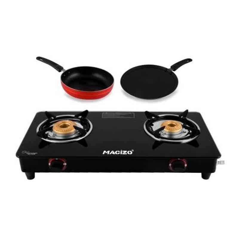 Macizo Edge Glass 2 Burner Manual Gas Cooktop with Flat Tawa 200 & Fry Pan 215 Combo